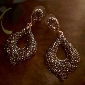 Beautiful Rose Gold Crystal Covered Drop Earrings